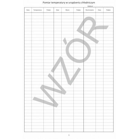 Rejstr Pomiaru Temperatury w Urządzeniu Chłodniczym